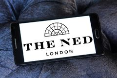 The ned hotel logo. Logo of the ned hotel on samsung mobile.  The Ned is a hotel & members club in the City of London with nine restaurants, indoor & rooftop Royalty Free Stock Images