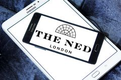 The ned hotel logo. Logo of the ned hotel on samsung mobile.  The Ned is a hotel & members club in the City of London with nine restaurants, indoor & rooftop Stock Images