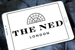 The ned hotel logo. Logo of the ned hotel on samsung tablet.  The Ned is a hotel & members club in the City of London with nine restaurants, indoor & rooftop Stock Photography