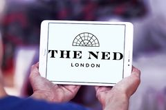 The ned hotel logo. Logo of the ned hotel on samsung tablet.  The Ned is a hotel & members club in the City of London with nine restaurants, indoor & rooftop Stock Photo