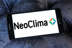 NEOCLIMA climate equipments manufacturer logo. Logo of NEOCLIMA brand on samsung mobile. NEOCLIMA is an international manufacturer of modern and reliable climate Royalty Free Stock Image