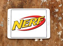 Nerf toy brand logo. Logo of nerf toy brand on samsung tablet. NERF is a toy brand created by Parker Brothers and currently owned by Hasbro royalty free stock images