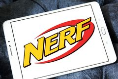 Nerf toy brand logo. Logo of nerf toy brand on samsung tablet. NERF is a toy brand created by Parker Brothers and currently owned by Hasbro royalty free stock image