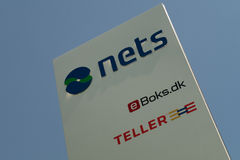 Logo of Nets at the corporate headquarters. In Denmark. Nets is the largest credit card payments clearing company in the Nordics. In March 2014 Nets was Stock Image
