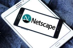 Netscape computer services company logo. Logo of Netscape company on samsung mobile. Netscape is a brand name associated with the development of the Netscape web stock photo