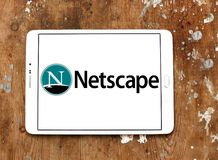 Netscape computer services company logo. Logo of Netscape company on samsung tablet. Netscape is a brand name associated with the development of the Netscape web royalty free stock image