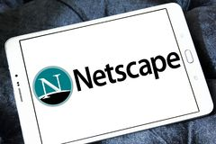 Netscape computer services company logo. Logo of Netscape company on samsung tablet. Netscape is a brand name associated with the development of the Netscape web royalty free stock photography