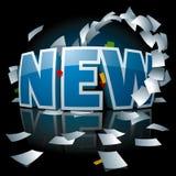 Logo neuf avec le tourbillon de papier autour de lui Photographie stock