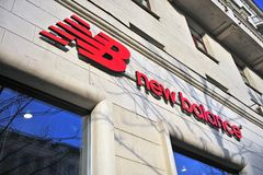 Logo on New Balance flagship store. MOSCOW, RUSSIA - MAY 02: Logo of New Balance flagship store, Moscow on May 2, 2018 Royalty Free Stock Photography