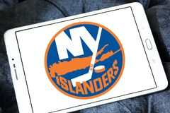 New York Islanders ice hockey team logo. Logo of New York Islanders ice hockey team on samsung tablet. The New York Islanders are a professional ice hockey team stock photo