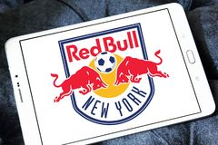 New York Red Bulls Soccer Club logo. Logo of New York Red Bulls Soccer Club on samsung tablet. New York Red Bulls are an American professional soccer club Royalty Free Stock Photo