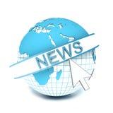 Logo NEWS on globe Stock Image