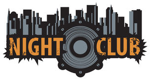 Logo for a night club. Vector logo for a night club with speaker over modern city background Stock Photo