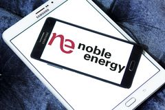 Noble Energy company logo. Logo of Noble Energy on samsung mobile. Noble Energy, Inc., formerly Noble Affiliates, Inc., is an American petroleum and natural gas Royalty Free Stock Photo