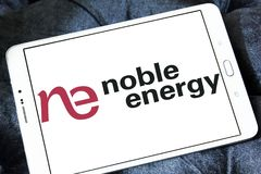 Noble Energy company logo. Logo of Noble Energy on samsung tablet . Noble Energy, Inc., formerly Noble Affiliates, Inc., is an American petroleum and natural gas Stock Photo