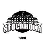 Logo noir et blanc de palais royal de Stockholm illustration stock