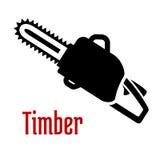 Logo noir ou emblème de tronçonneuse d'essence Photographie stock libre de droits