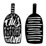 Logo noir tiré par la main de bouteille d'alcool Images libres de droits