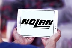 Nolan Helmets manufacturer logo. Logo of Nolan Helmets manufacturer on samsung tablet . Nolan Helmets SpA is an Italian motorcycle helmet Royalty Free Stock Photo