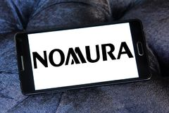Nomura Holdings logo. Logo of Nomura Holdings on samsung mobile. Nomura Holdings is a Japanese financial holding company and a principal member of the Nomura Stock Images