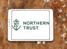 Northern Trust Corporation logo. Logo of Northern Trust Corporation on samsung tablet on wooden background. Northern Trust Corporation is a financial services Stock Image