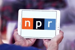 NPR , National Public Radio, logo. Logo of NPR , National Public Radio, on samsung tablet . NPR is an American privately and publicly funded non-profit Royalty Free Stock Photos