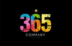 logo numéral de chiffre d'arc-en-ciel grunge de couleur de 365 nombres Image libre de droits