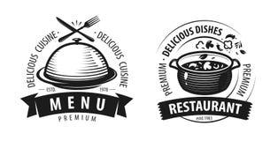 Logo o etichetta del ristorante Emblemi per progettazione del menu Illustrazione di vettore illustrazione di stock