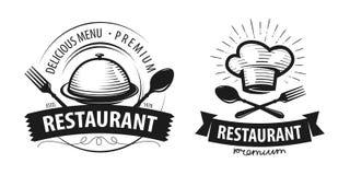 Logo o etichetta del ristorante Emblemi per progettazione del menu Illustrazione di vettore royalty illustrazione gratis