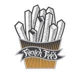 Logo o icona delle patate fritte con iscrizione Scheggia gli alimenti a rapida preparazione in scatola di carta L'annata dell'ali Fotografia Stock