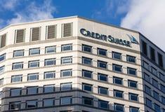 Logo o segno per Credit Suisse in Canary Wharf Fotografia Stock