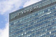 Logo o segno per il JP Morgan in Canary Wharf Immagini Stock