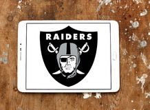 Oakland Raiders american football team logo. Logo of Oakland Raiders club on samsung tablet. The Oakland Raiders are a professional American football franchise Royalty Free Stock Image