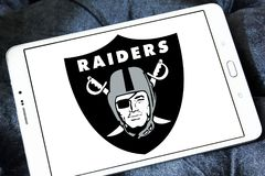 Oakland Raiders american football team logo. Logo of Oakland Raiders club on samsung tablet. The Oakland Raiders are a professional American football franchise Stock Photo