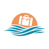 Logo with ocean and suitcase. Abstract travel logo with ocean and suitcase stock illustration