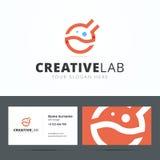 Logo- och affärskortmall för idérik studio royaltyfri illustrationer