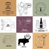 Logo och beståndsdelar för ölhuset, bar som bryggar Arkivbild