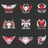 Logo- och emblemuppsättning stock illustrationer
