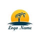 Logo odizolowywający agencja podróży Symbol wakacje, podróż i odtwarzanie w ciepłych krajach, Logo z drzewkami palmowymi ilustracji