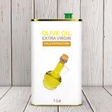 Logo Olive Oil Extra Virgin Metal astratto può rappresentazione 3d illustrazione vettoriale