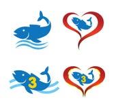 Logo omega fish on heart Royalty Free Stock Photography