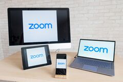 Free Logo On The Display Of All Mobile Devices. Zoom Is An Online Platform For Remote Communication. Application On A Royalty Free Stock Photography - 181987407