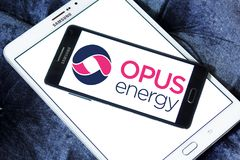 Opus Energy Limited logo. Logo of Opus Energy Limited on samsung mobile. Opus Energy supplies gas and electricity to businesses across the United Kingdom. It royalty free stock images