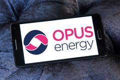 Opus Energy Limited logo. Logo of Opus Energy Limited on samsung mobile. Opus Energy supplies gas and electricity to businesses across the United Kingdom. It royalty free stock photo