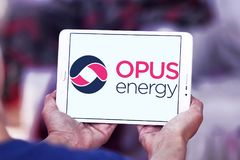 Opus Energy Limited logo. Logo of Opus Energy Limited on samsung tablet . Opus Energy supplies gas and electricity to businesses across the United Kingdom. It royalty free stock photo