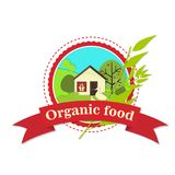 The logo of the organic food house in the field. Illustration Royalty Free Stock Images