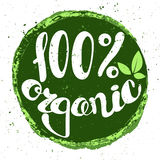 Logo 100% organic with leaves. Logo 100% organic with leaves, natural product, organic, healthy food. Organic food badge in vector cosmetic stock illustration