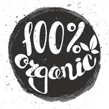 Logo 100% organic with leaves. Logo 100% organic with leaves, natural product, organic, healthy food. Organic food badge in vector (cosmetic, food). Lettering royalty free illustration