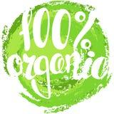 Logo 100% organico con le foglie Segnando 100% con lettere organico orga 100% Immagini Stock