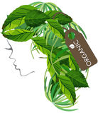 Logo organico del salone di Logo Hair Fotografia Stock Libera da Diritti